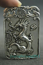 Chinese antique tibet silver handwork carve lucky dragon noble pendant gift