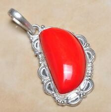 "Handmade Genuine Red Coral 925 Sterling Silver Pendant 2"" #P02970"