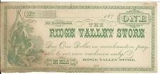 Georgia Rome Ridge Valley Store $1 187X AU Remainder Indian Store Scrip note