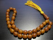 Natural Baltic Amber Islamic 33 Faturan Rosary Prayer Honey Brown Tasbih Misbaha