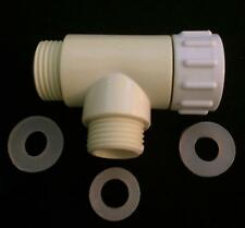 Tee Adapter (T-adapter) for hose, bidet,toilet, water connection pvc 7/8x1/2x7/8