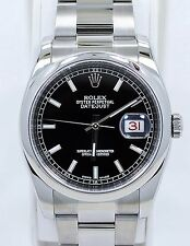 ROLEX DATEJUST 116200 36mm BLACK STICK DIAL OYSTER PERPETUAL *MINT CONDITION*