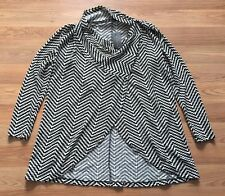 NWT Women's THE LIMITED White Black Cowl Neck Button Wrap Cardigan Size Large L