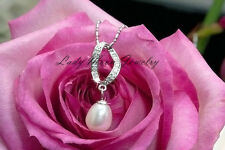 """925 Sterling Silver Freshwater Cultured White Pearl Pendant  Necklace 18"""" AAA+"""
