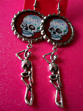 Day Of The Dead Sugar Skull With Skeleton Dangle Charm Earrings #28
