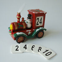 WOODEN STEAM TRAIN CALENDAR TRADITIONAL CHRISTMAS DECORATION - NEW