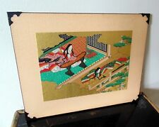 Japanese gold painted print mounted on wood block vintage art 8 x 10