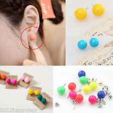 Lots 20Pc Colorized Women Mixed Fluorescence Round Ball Ear Studs Earrings Gift