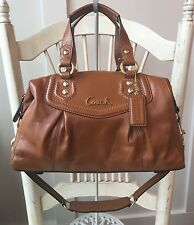 COACH ASHLEY Walnut Brown / Saddle Leather Satchel Handbag F19247 - $378!!