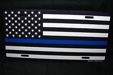 THIN BLUE LINE POLICE METAL LICENSE PLATE TAG BLACK AND WHITE AMERICAN FLAG