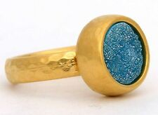 Hammered Yellow Gold 24K Plated Ring w Turquoise Druzy Agate Stone Sz 8