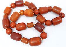 Antique Butterscotch Marbled Faturan Amber Bakelite Barrel Bead Necklace 170g