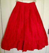 Vintage Made in England Sujon 100% Raw Pure SILK  Red Pleated Skirt Size 8 Boho