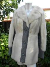 VINTAGE 60'S REAL CREAM SILVER CROSS RANCH MINK GRAY LEATHER FUR JACKET COAT