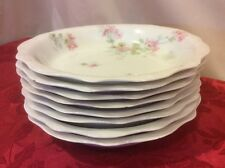 JPL Jean Pouyat Limoges France Pink Floral - Set of 8 Berry Cereal Bowls 7""