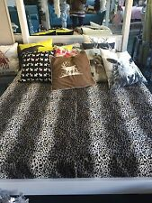 Stunning Extra Large Snow Leopard Print Faux Fur Throw Blanket Super King Duvet