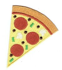 Iron On Embroidered Applique Patch Cheese Pepperoni Mushrooms Pepper Pizza Slice