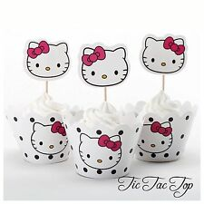 12 pcs Hello Kitty Cupcake Toppers + Wrappers. Girls Party Fruit Jelly Cup