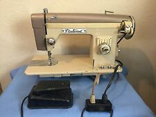 Vintage Fleetwood DELUXE Purple/Beige Sewing Machine with Pedal Works Great!