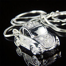 w Swarovski Crystal 3D VW Beetle VOLKSWAGEN Classic Bug CAR Charm Chain Necklace