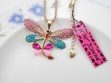 Betsey Johnson  jewelry Crystal beautiful dragonfly pendant necklace # A064B