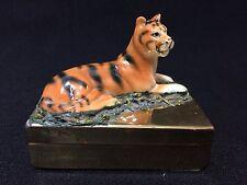 Vintage! Petites Choses Porcelain Tiger on Brass Trinket Box