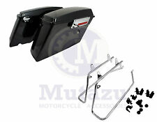 Complete Vivid Black Hard Saddlebags & Chrome Conversion Kit for Harley Softail