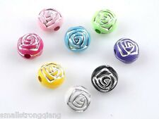 100 Pcs Colorful acrylic rose flower spacer loose beads Charms findings 8mm