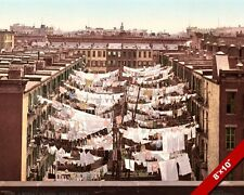 NEW YORK LAUNDRY DAY DRYING CLOTHES COLORED PHOTOGRAPH ART REAL CANVAS PRINT