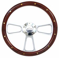 1967-94 Camaro Steering Wheel Real Mahogany Billet & Bowtie Horn Button