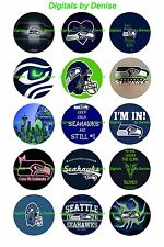 """SEATTLE SEAHAWKS 50 BOTTLE CAP IMAGES 50 1"""" CIRCLES CUPCAKE TOPPERS BOWS"""