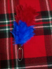 TC Feather Plume Hackle Glengarry Cap Red & Royal Blue/Balmoral Plume Hackle 6""