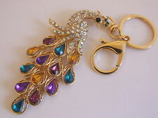 HANDBAG BUCKLE CHARM MULTI-COLOURED CRYSTAL ELEGANT PEACOCK KEY RING CHAIN