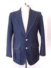 Vtg 70s Navy Textured Poly Preppy School Boating Blazer Sportcoat Stitch Trim S