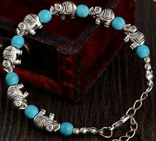 Collectable Elephant Bracelet with Turquoise & Tibetan Silver Detailing