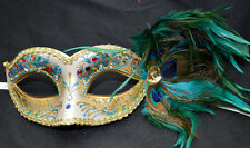 Teal Glitter Women Party Mask Masquerade Mask with Gems & Peacock Feathers