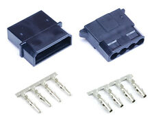 Black Male & Female 4 Pin Molex Connector With Pins for PC Computer Power Supply