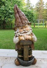 WOODLAND GARDEN GNOME 16 in. LAWN ORNAMENT YARD DECOR VILLAGE WITH SHOVEL  RESIN