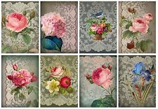Lace & Flowers Shabby Chic Card Toppers / Birthday Mothers Day Card Making
