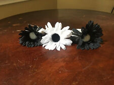 Mud Pie Floral Napkin Rings, Set Of 3, Two Black, 1 White, NEW!