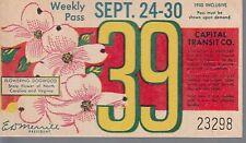 Trolly/Bus pass capital Transit Wash. DC--9/24/30/1950-Dogwood-----45
