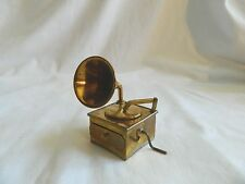 Egyptian Mini Brass Old Record Player Collectible