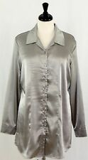 Chicos Long Sleeve Silver Liquid Satin Holiday Blouse Shirt Size 2 M 12