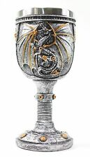 Silver 2 Royal Dragon Wine Goblet Skulls Steampunk Collectible Home Decor Gift