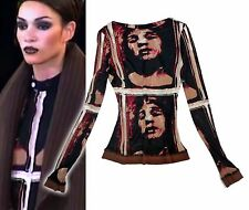 Retro 20s movie funky diva face JEAN PAUL GAULTIER afro SUPERFLY runway top XS+