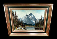 VINTAGE KEITH FAY OIL PAINTING GRAND TETONS WYOMING MOUNTAIN LANDSCAPE LISTED