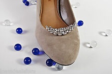 Bridal Wedding Prom Rhinestone Crescent Moon Design Silver Shoe Clip Accessory