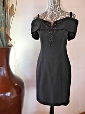 Vintage 80's Karen Lucas For Niki Black Silky Cocktail Dress Beaded Sz 6 Petite