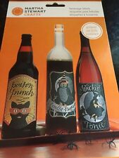 MARTHA STEWART CRAFTS HALLOWEEN BEVERAGE LABELS-owl Cat Witch