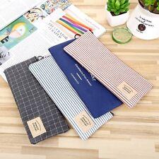 Stripe Canvas Canvas Pencil Pen Case Novelty Makeup Cosmetic Pouch Bag Zipper